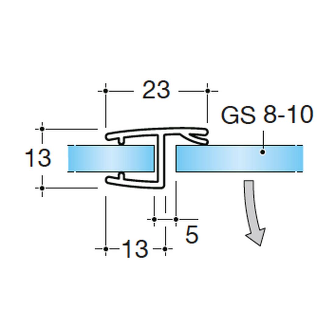 GLASTÜRDICHTUNG 180° GLAS-GLAS, GLASSTÄRKE 8-10MM