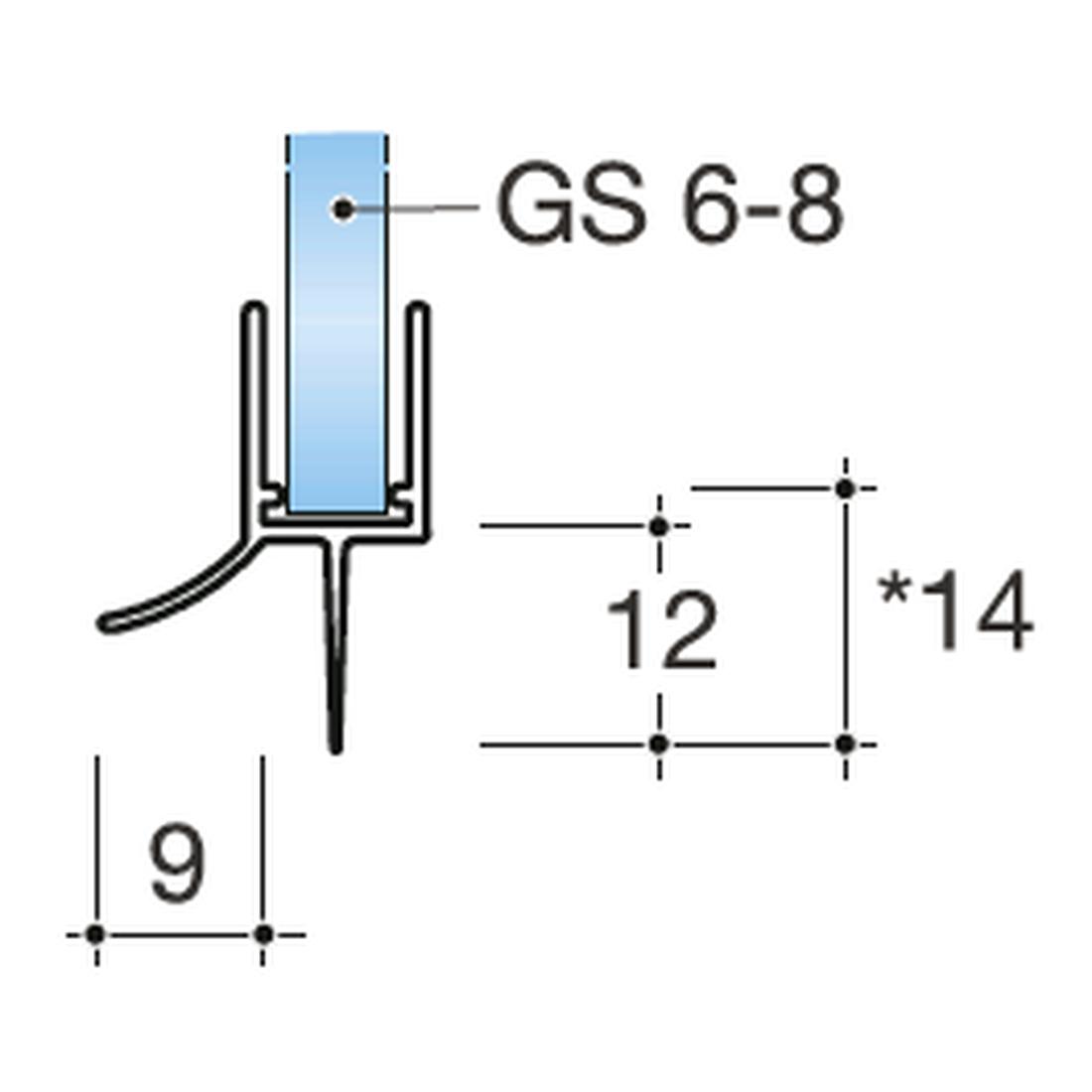 GLASTÜRDICHTUNG 90° GLAS - WAND, GLASSTÄKE 6-8MM