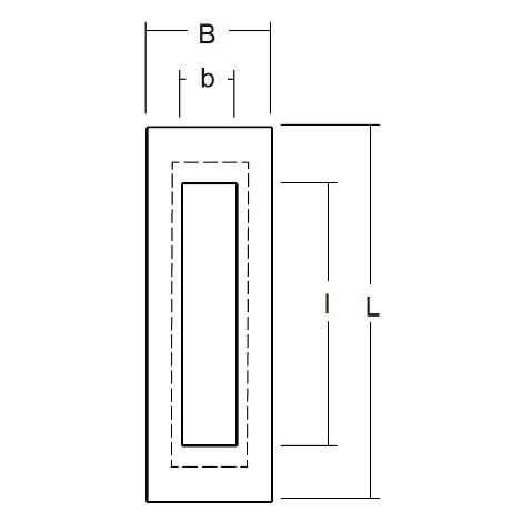 """FLUSH PULL, SATIN STAINLESS STEEL, 5 29/32"""" x 1 31/32"""""""
