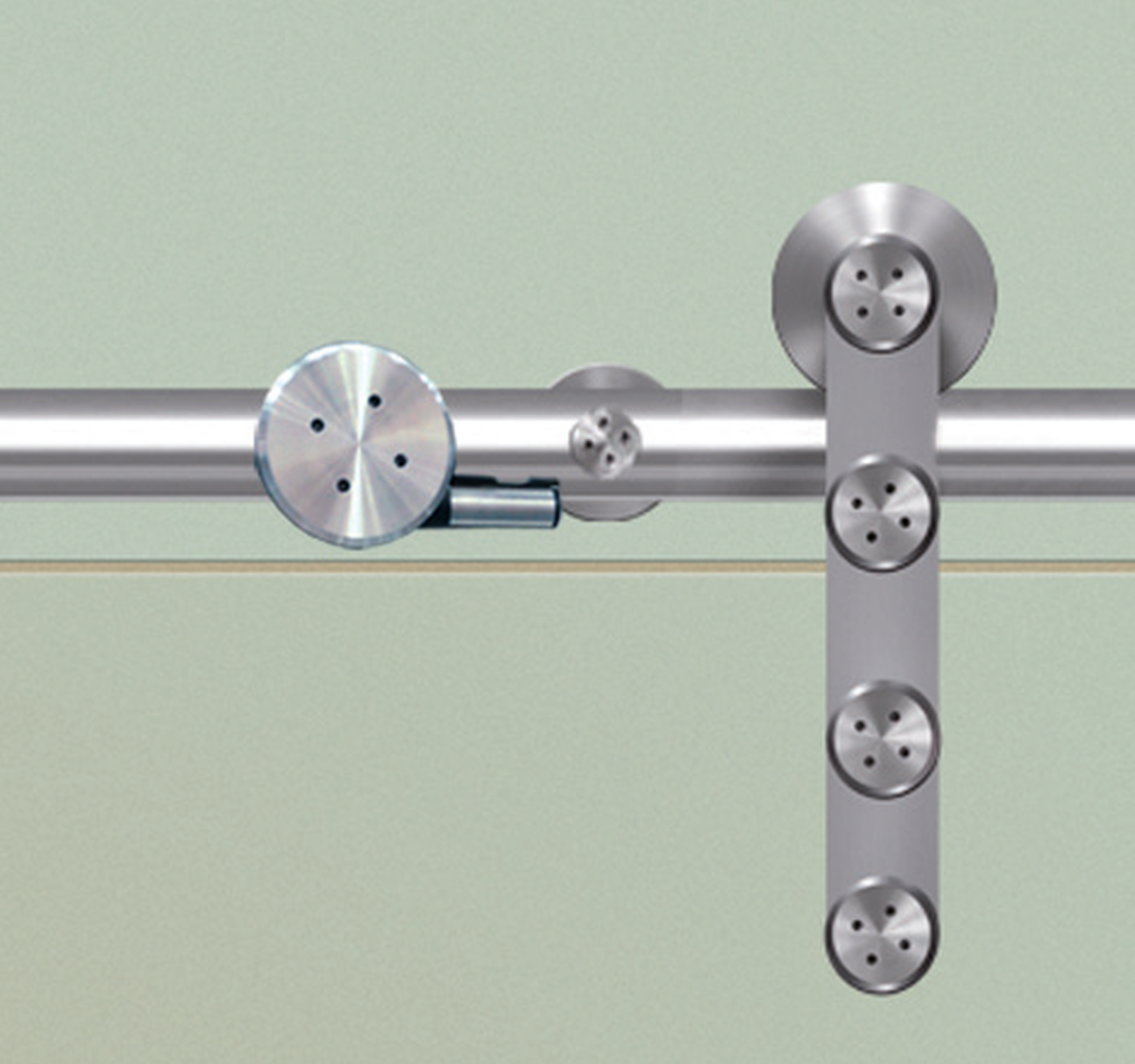 FLATEC I, FOR GLASS DOORS, SATIN STAINLESS STEEL, SET