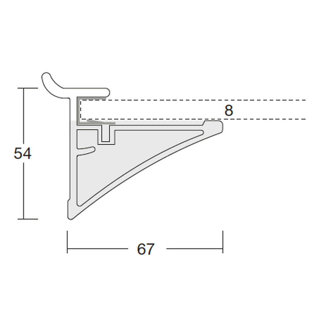 PROFILE FOR GLASS PLATES 8MM I 800MM