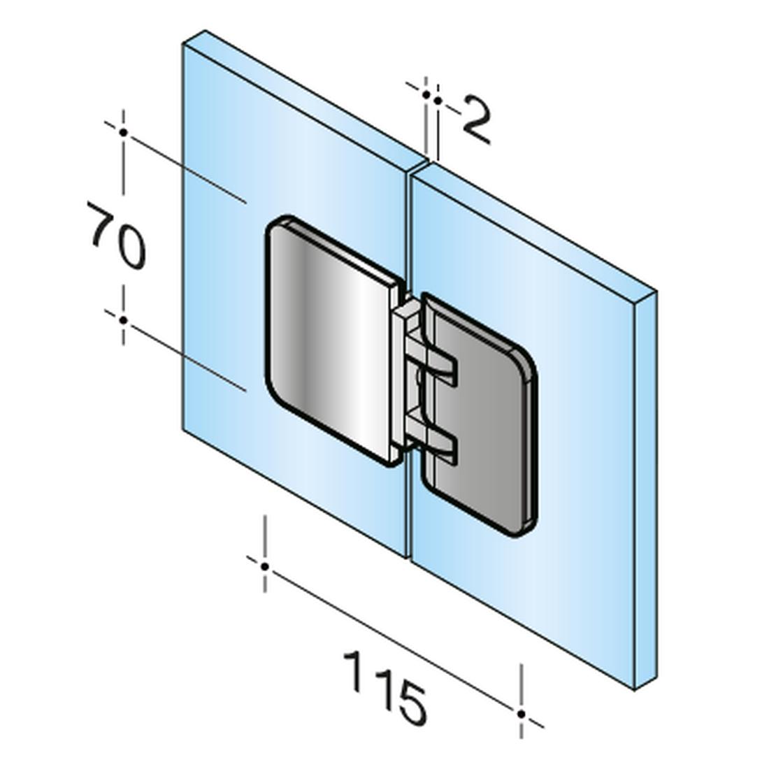 SWING PICCOLO 180° - DOOR HINGE I GLASS - GLASS
