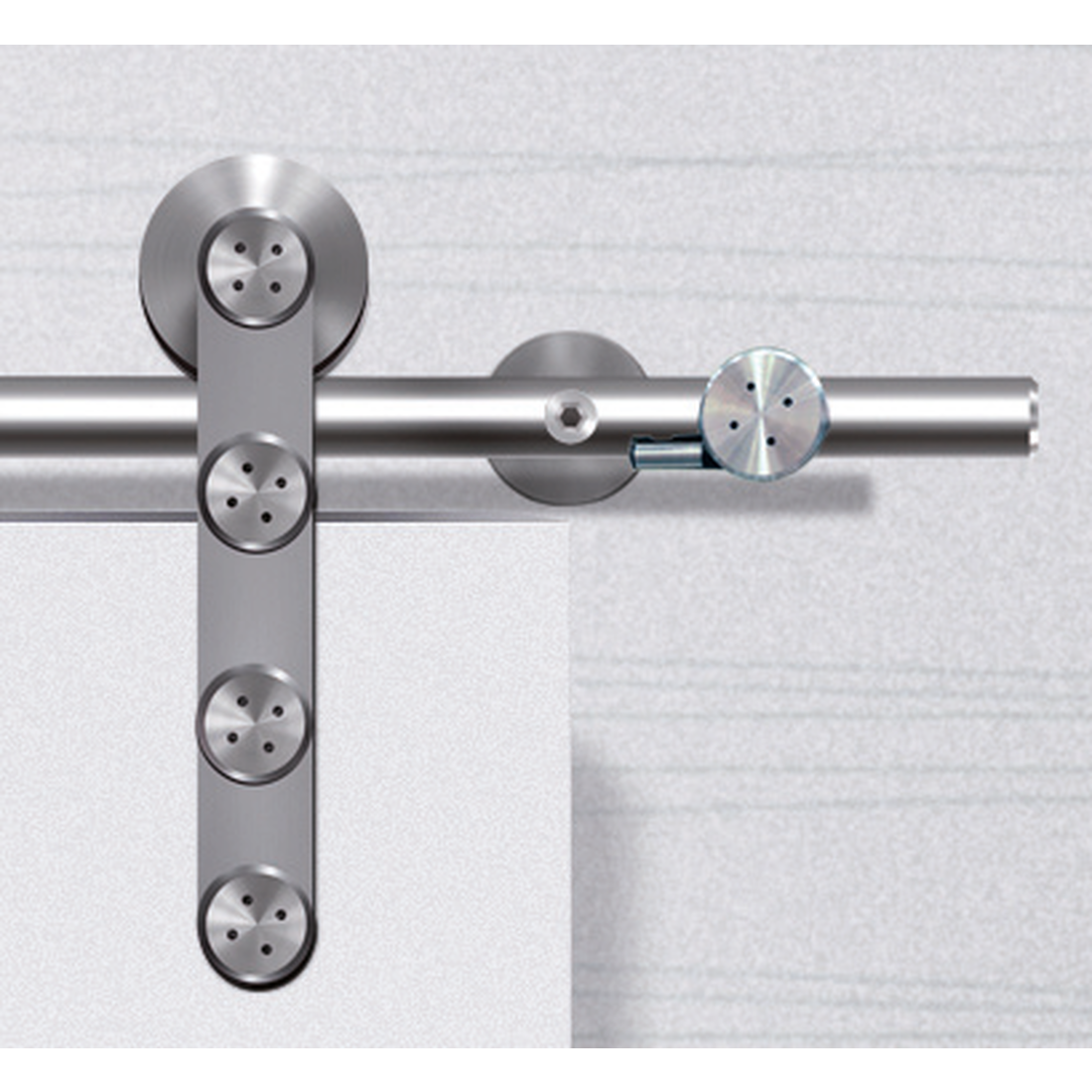 FLATEC I, FOR WOOD DOORS, SATIN STAINLESS STEEL, SET