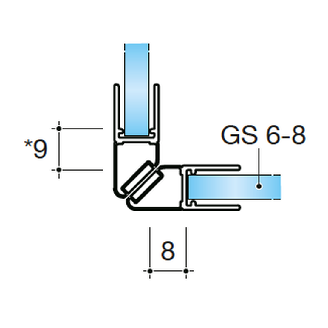 MAGNETIC SEL 90°, GLASS-GLASS