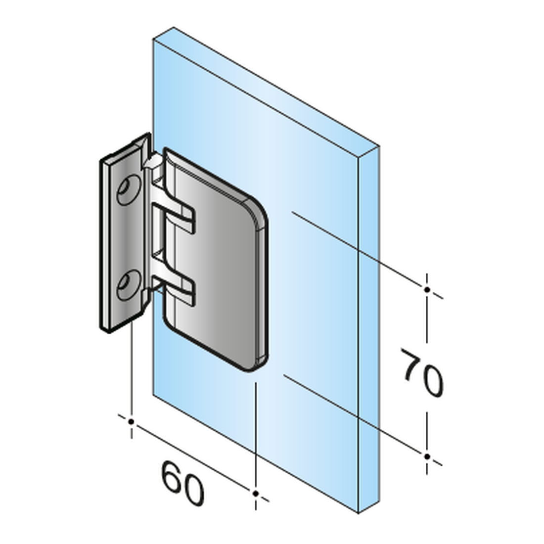 SWING PICCOLO 90° DOOR HINGE I GLASS - BOTH SIDES WALL PANEL