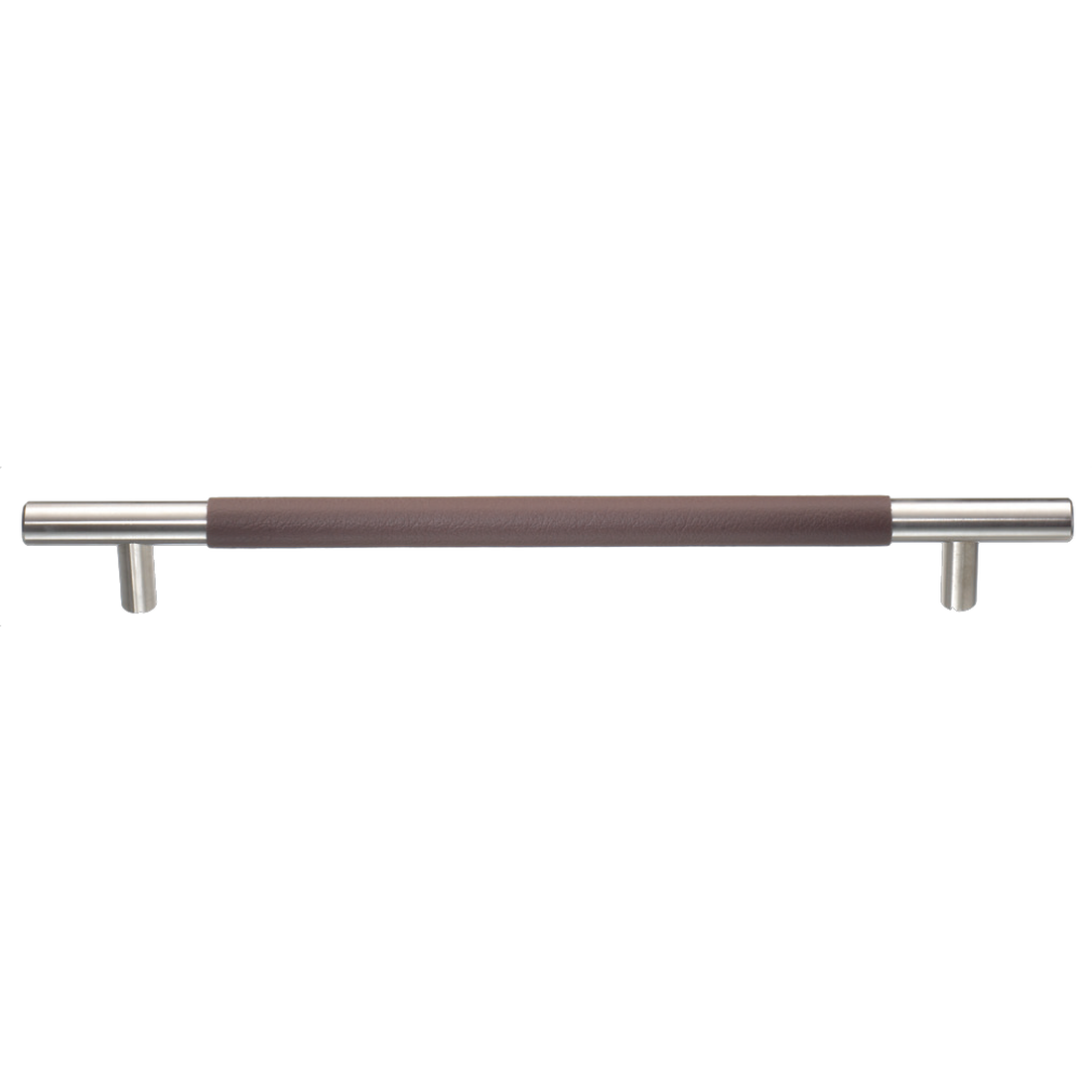 CERES BAR HANDLE ø 12MM, WITH PLAIN LEATHER, COCOA