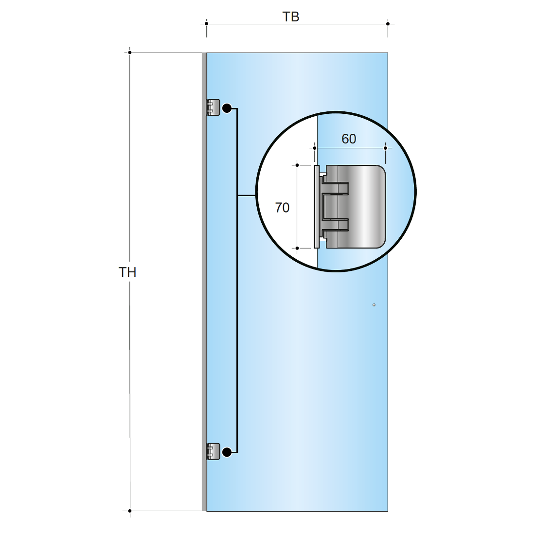 SLIM WALL PROFILE FOR MOUNTING THE DOOR HINGE ONTO THE WALL, FOR SHORTENING, LENGTH 2600MM